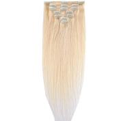 Clip in Human Hair Extensions Real Human Hair 8pcs 18clips Basic for Full Hair Bleach Blonde 60cm