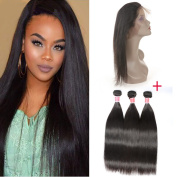 Beauty Princess Brazilian Vigin Human Hair 3 Bundles with 360 Lace Band Frontal Closure Silky Straight with Natural Hairline & Natural Colour