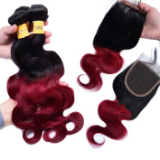 XCCOCO Hair Black to Red Two Tone Ombre Body Wave Hair Extensions 3 Bundles Brazilain 1b/burgandy Body Wave With 4x4 Invisible Lace Closure