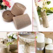 Jute Tape Roll, 10cm Wide Burlap Hessian Fabric Vintage Table Runner DIY Craft Wedding Ribbon Trims