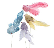 Linen Bird Pick on Wire - Set of 4 - Assorted Colours