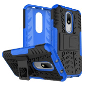 Moto M Case, ARSUE [Premium Rugged] Heavy Duty Armour [Shock Resistant] Dual Layer with Kickstand Case for Motorola Moto M - Blue