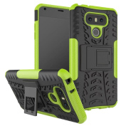 LG G6 Case, ARSUE [Premium Rugged] Heavy Duty Armour [Shock Resistant] Dual Layer with Kickstand Case for LG G6 2017 - Green