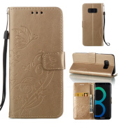 Galaxy S8 Case, ARSUE Premium Vintage Emboss Butterfly Flower PU Leather Wallet Case with Card Slots & Stand Flip Cover for Samsung Galaxy S8 2017 Release,