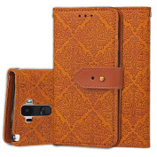LG G Stylo Case, LG G4 Stylus Case, (Not Fit LG G4), ARSUE Premium Emboss Flower Soft PU Leather Wallet Case Flip Cover Skin with Card Slot for LG G Stylo / LG G Stylus (LS770) - Khaki