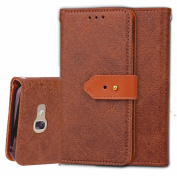 Galaxy On7 Case,Galaxy J7 Prime Case, ARSUE Premium Emboss Flower Soft PU Leather Wallet Case Flip Cover Skin with Card Slot for Samsung Galaxy On7 2016/J7 Prime/G610 - Brown