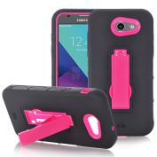 LG Stylo 3 Case, ARSUE [Drop Protection] [Shock Absorption] Hybrid Dual Layer Armour Defender Protective Case Cover with Kickstand for LG Stylo 3 - Hot Pink
