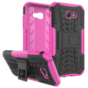 Galaxy A7 2017 Case ,ARSUE [Premium Rugged] Heavy Duty Armour [Shock Resistant] Dual Layer with Kickstand Case for Samsung Galaxy A7 2017 - Hot pink