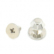 Bluemoona 10 Sets - 6mm Leather Diamond Brass Head Button Stud Screw back Chicago Nail Rivet