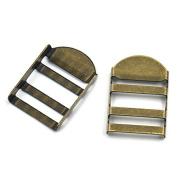 "Bluemoona 20 Pcs - Metal Tension Lock Triglides 1"" 25mm Slides 4 Webbing Strapping Buckles Adjustor Bronze"