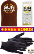 Sun Goddess (1) Sunless Self Tanning Applicator Mitt . 3) Sunless Self Tanning Lotion Samples + (1) PAIR of Sunless Self Tanning Applicator Gloves - Sunless Self Tanning Mitt Gloves Lotion