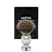 Premium Genuine Badger Bristles Brush - Outstanding Quality Elegant Silvery Alloy Handle - Best Shaving for Your Life
