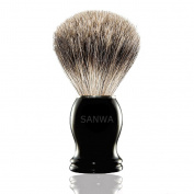 SANWA Premium Genuine Badger Brush - Obsidian Acrylic Handle - Best Shaving for Your Life
