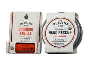 Olivina Mens USDA Organic Restorative Hand Rescue and Olive Oil Lip Balm Set