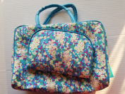 2 Pc Raymond Waites Blue Floral Cosmetic Bags