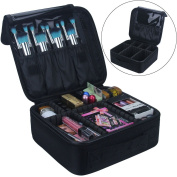 Travel Makeup Train Case Travelmall Makeup Cosmetic Case Organiser Portable Artist Storage Bag for Cosmetics,Makeup Brushes ,Toiletry ,Travel Accessories,Jewellery and Digital accessories 25cm