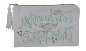 Canvas Mermaid Kisses and Starfish Wishes Zippered Makeup Cosmetic Bag