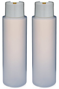"2 Pack Refillable 470ml HDPE Squeeze Bottles With ""Stand On The Cap"" Dispenser Tops--Great For Lotions, Shampoos, Conditioners and Massage Oils From Earth's Essentials"