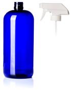 950ml Cobalt Blue PET Plastic Bottle with White Trigger Sprayer