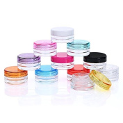 Healthcom 3 Gramme Plastic Pot Jars 3 ML Jar Cosmetic Containers Sample Empty Container Clear Plastic Refillable Containers with Colourful Screw Cap Lids,50 Pcs