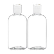 MoYo Natural Labs Applicator Bottle Boston Round Disc Top Clear Essential Oil Bottle and Shampoo Dispenser 240ml Pack of 2