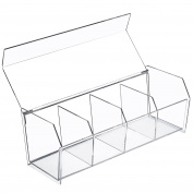 4-Compartment Modern Clear Acrylic Bathroom / Office Desktop Organiser and Storage Box w/ Lid