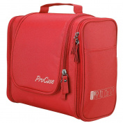 ProCase Toiletry Bag with Hanging Hook, Organiser for Travel Accessories, Makeup, Shampoo, Cosmetic, Personal Items, Bathroom Storage with Hanging, Large, Red