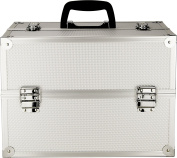 Just Case Makeup Artist Train Case Organiser in Silver Dot-NG3702DTSL