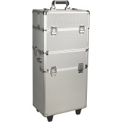 JustCase Rolling Makeup Case on Wheels Organiser in Silver Dot-NG7201DTSL