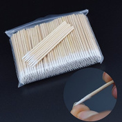 300pcs/pack Short Wood Handle Small Pointed Tip Head Cotton Swab Eyebrow Tattoo Beauty Makeup Colour Nail Seam Dedicated Dirty Picking Pack of 2