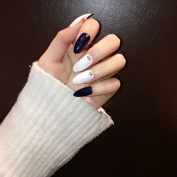 24 Pieces Royal blue Nails with Rivet Diamond Almond Fake Nails