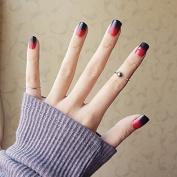 YUNAI 24PCS Fake Nail Glossy Black and Red Pre-design False Nail Short Size Smooth Nail Tips