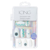 Icing White and Turquoise Geometric Stiletto Faux Nails Girls Silver