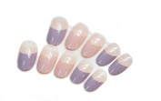 JINDIN French Fake Nails For Women Short Full Cover Design with Small Oval Nail Tips Purple and Nude Colour for Women Beauty Manicure Art
