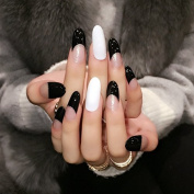 Round Designed Fake Nails Black Clear White Long French Nails Design Manicure Tool 24pcs/kit Z369