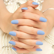 24 Pieces Short Solid Blue Fake Nails Round Head Full Cover Nails