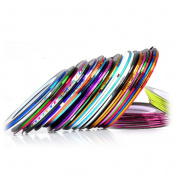 Youngman 32Pcs Mixed Colours Rolls Striping Tape Line Nail Art Tips Decoration Stickers