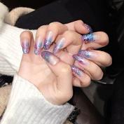 YUNAI False Nail Transparent Shinning Fake Nails Almond French Nail Tips Graduated Glitter Light Blue