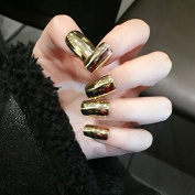 YUNAI Long False Nails Golden Shinning Mirror Surface Metallic Fake Nails 24pcs
