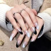 YUNAI Long False Nails Durable Long wear Thick Fake Nail Tips Tansparent Black/White Sparkling Nail Tips