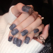 24pcs/kit Deep Grey Marble Pattern Acrylic Nails Shiny Flat Lady Nail Tips Designed Manicure Tool 24pcs Z340