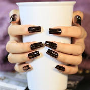 24pcs/kit Coffee Brown Mirror Acrylic Nails Shiny Flat Lady Nail Tips Designed Manicure Tool Easy DIY 24pcs Z341