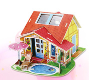 3D DIY Wooden House Villa Model Puzzle Creativity Gift Decorations Gift Handmade Crafts Artwork - B athroom