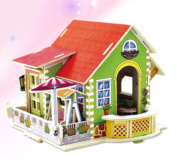 3D DIY Wooden House Villa Model Puzzle Creativity Gift Decorations Gift Handmade Crafts Artwork - Bedroom