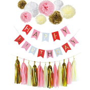 Fascola Happy Birthday Bunting Banners, Golden Garlands Pack with 15 Gold Tassels and 8 Tissue Paper Pom Poms Flowerfor Happy Birthday Decorations