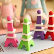 New 4Pcs/lot Tower Shape Cute Pencil Eraser Rubber Kids School Stationery Gift