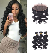 3Bundles Brazilian Body Wave with Closure 13X4 Ear to Ear Lace Frontal Unprocessed Human Hair