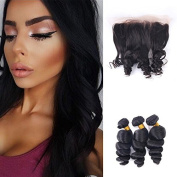 3Bundles Brazilian Virgin Hair Loose Wave with Closure 13X4 Lace Frontal Ear to Ear with Baby Hair