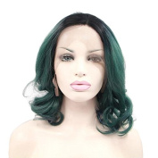 AOERT Ombre Short Curly Wig Green Lace Front Wig Heat Resistant Synthetic Cosplay Wigs for Women Girls 30cm Black Root