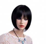 A.Monamour Natural Black Blunt Fringes Short Straight Bob Fashion Hairstyle Synthetic Full Wig For Women Girls